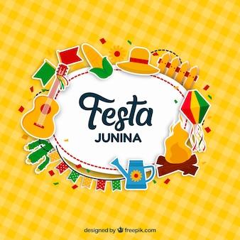 Festa junina-achtergrondontwerp met elementen