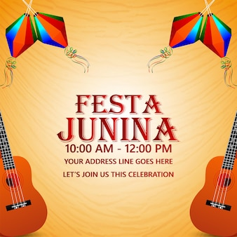 Festa junina brazilië evenement met creatieve kleurrijke lantaarn en gitaar