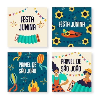 Festa junina card collectie sjabloon concept