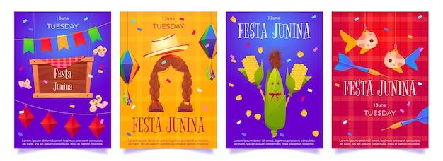 Festa junina cartoon flyers party-sjabloon