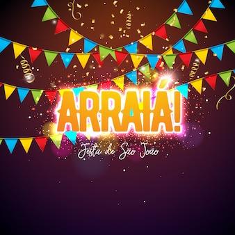 Festa junina design met feestvlaggen en typografiebrief