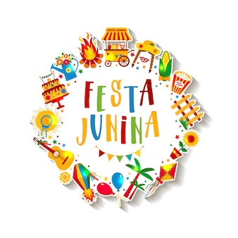 Festa junina dorpsfeest in latijns-amerika. pictogrammen in felle kleuren. decoratie in festivalstijl.