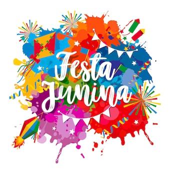 Festa junina dorpsfeest in latijns-amerika. pictogrammen in felle kleuren. vlakke stijldecoratie.