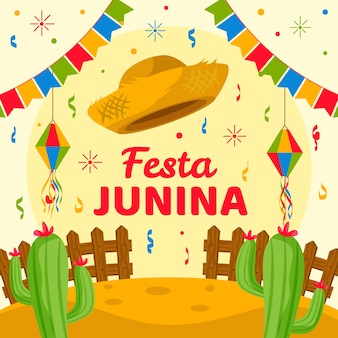 Festa junina-feest met plat ontwerp en slingers