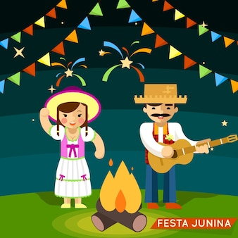 Festa junina-festival. partij brazilië viering. vector illustratie