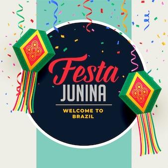 Festa junina-festivalachtergrond met decoratieve elementen