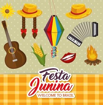 Festa junina gerelateerde objecten over gestippelde achtergrond vectorillustratie