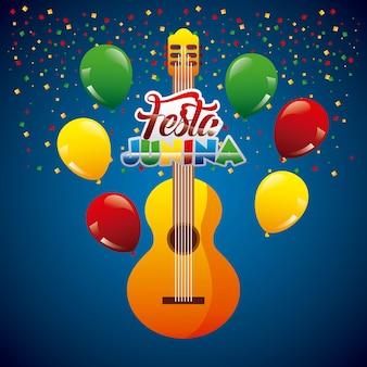 Festa junina gitar confetti garland op blauwe achtergrond