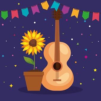 Festa junina-illustratie met gitaar en zonnebloem