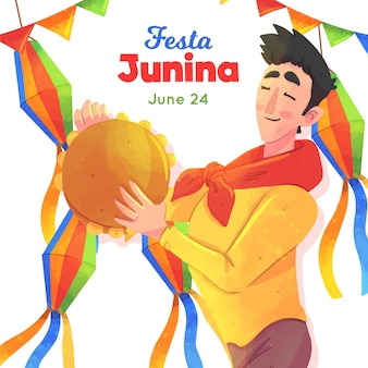 Festa junina illustratie met man