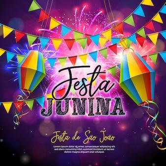 Festa junina illustratie met vlaggen en papieren lantaarn