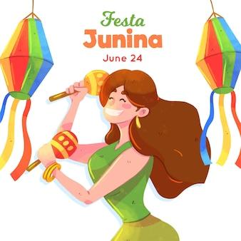 Festa junina-illustratie met vrouw en maracas