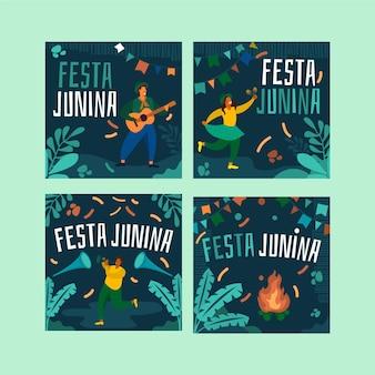 Festa junina-kaart decorontwerp sjabloon