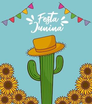 Festa junina-kaart met cactus en zonnebloemen