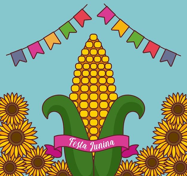 Festa junina-kaart met maïskolf en zonnebloemen