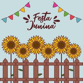 Festa junina-kaart met zonnebloemen en slingers