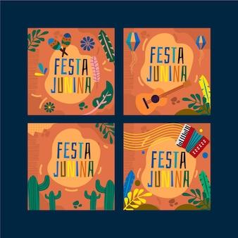Festa junina kaartenset sjabloon concept