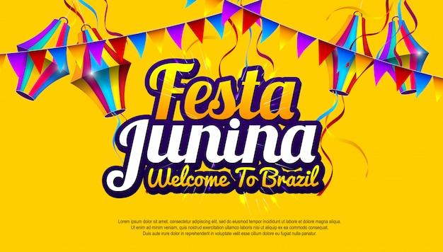 Festa junina kleurrijk banerontwerp