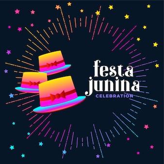 Festa junina kleurrijke hoed kaart