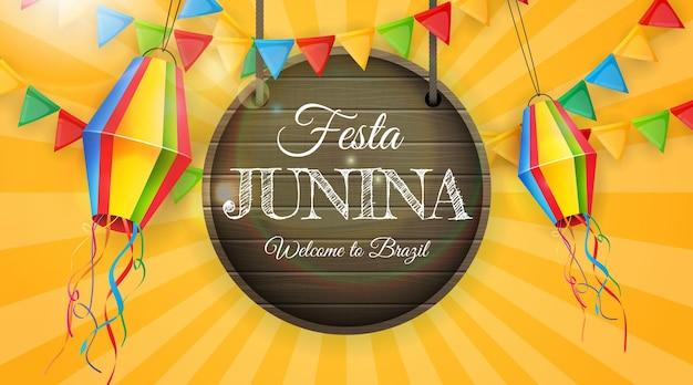 Festa junina met feestvlaggen en lantaarns