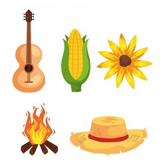 Festa junina met festival, brazilië juni festival, iconen set