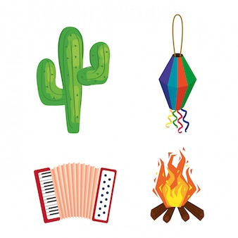 Festa junina met festival, het festival van brazilië juni, pictogrammen geplaatst illustratieontwerp