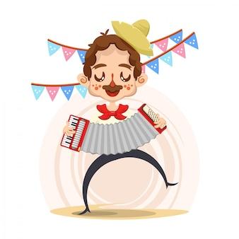 Festa-junina met man die een accordeon bespeelt