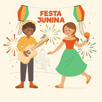 Festa junina muziekinstrumenten en mensen