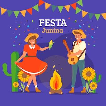 Festa junina platte ontwerp achtergrond