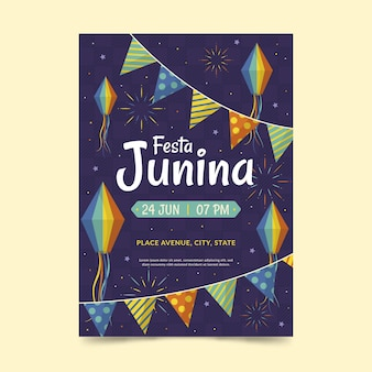 Festa junina poster sjabloon concept