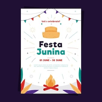 Festa junina poster sjabloon in plat design