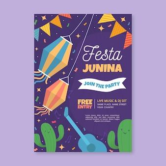 Festa junina poster sjabloonontwerp