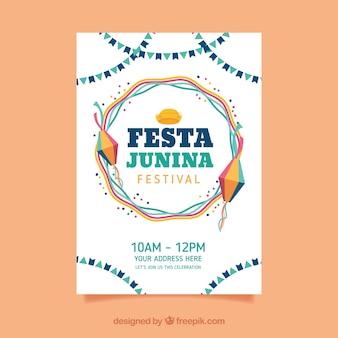 Festa junina-posteruitnodiging met elementen in vlakke stijl