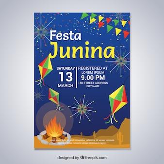 Festa junina-posteruitnodiging met kampvuur en vuurwerk