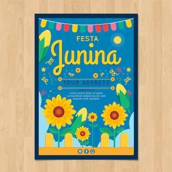 Festa junina-posteruitnodiging met zonnebloemen