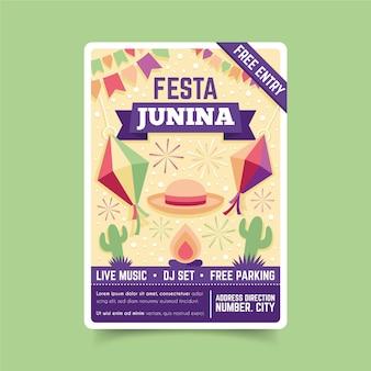 Festa junina sjabloon folder voor evenement