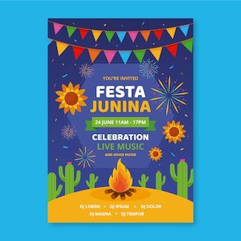 Festa junina-sjabloon voor flyer-stijl