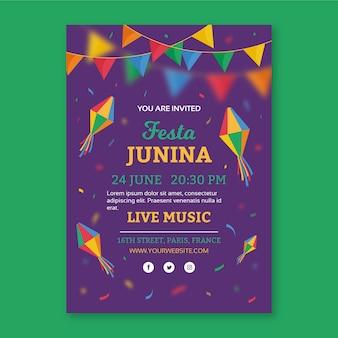 Festa junina-sjabloon voor flyer