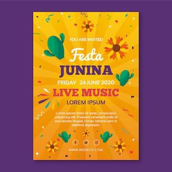 Festa junina-sjabloon voor flyerconcept