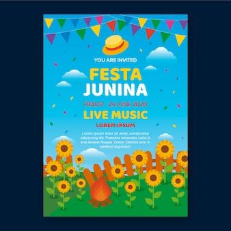 Festa junina-sjabloon voor flyerthema