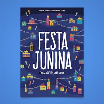 Festa junina-sjabloon voor poster