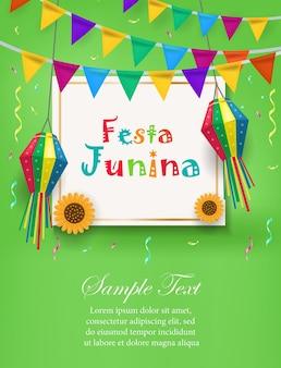 Festa junina vakantie uitnodiging sjabloon