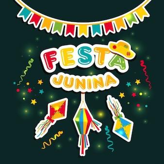 Festa junina vector etiketten illustratie op donkere