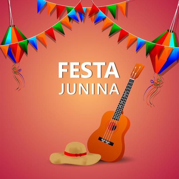 Festa junina vectorillustratie met gitaar, kleurrijke partijvlag en papieren lantaarn