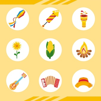 Festa junina viering bundel pictogrammen