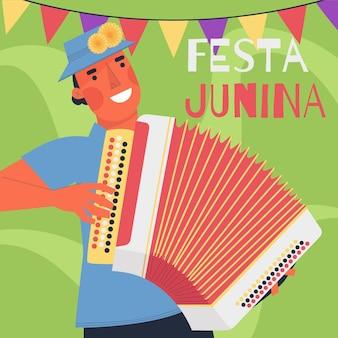 Festa junina viering plat ontwerp