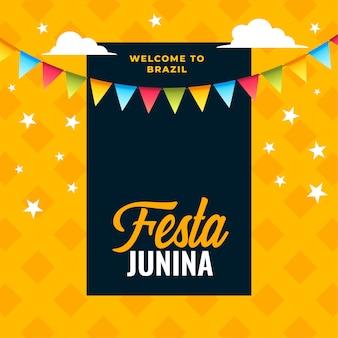 Festa junina-vieringsachtergrond van braziliaans festival