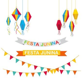 Festa junina vlag element vector illustratie ontwerp