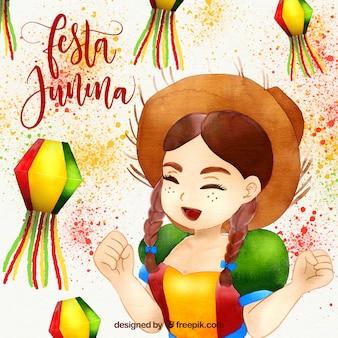 Festa junina-waterverfachtergrond met gelukkig meisje