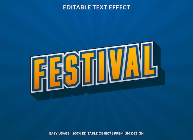 Festival bewerkbare teksteffectsjabloon premium stijl